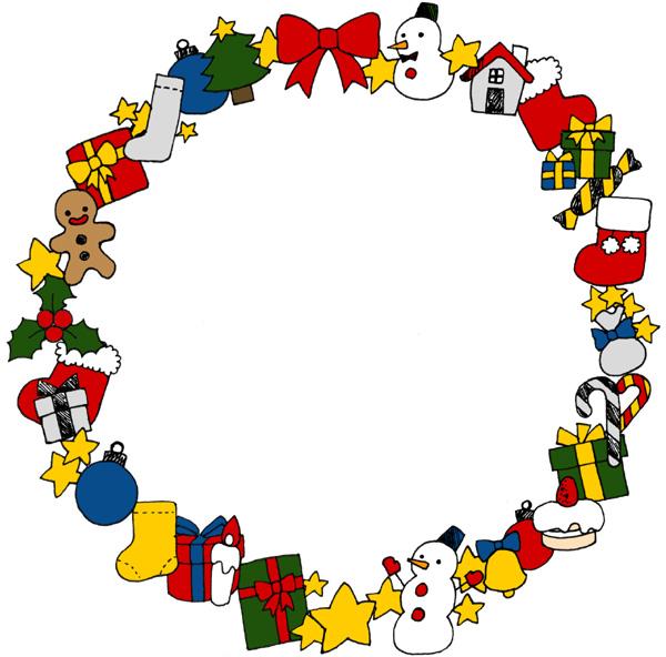 【無料】かわいいクリスマスモチーフフレーム枠イラストフリー素材