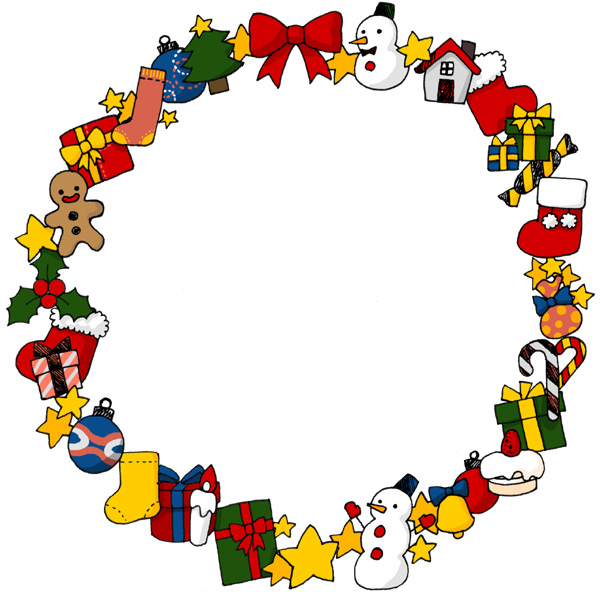 【無料】かわいいクリスマスモチーフフレーム枠イラストフリー素材「影ありタイプ」
