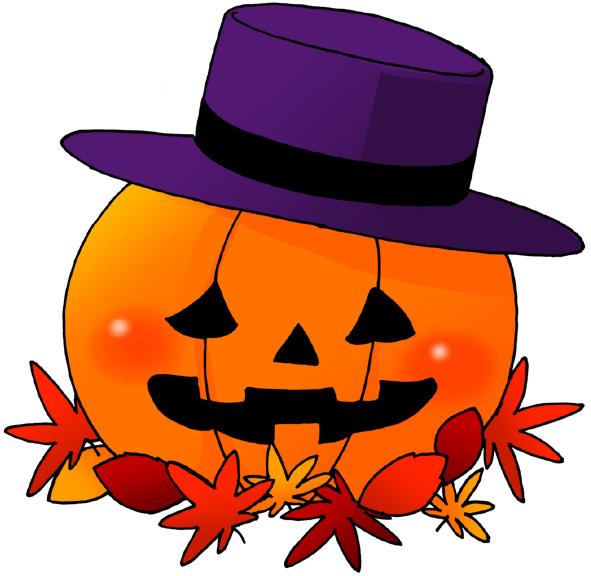 【無料】ハロウィンイラストフリー素材「かぼちゃに帽子」グラデーションタイプ