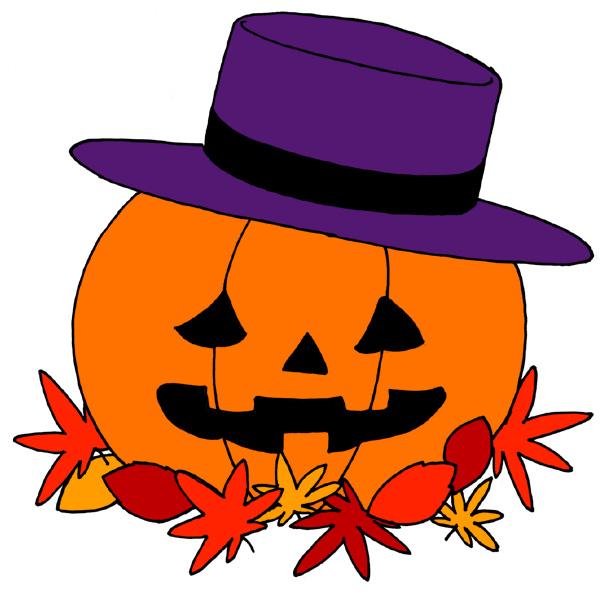 【無料】ハロウィンイラストフリー素材「かぼちゃに帽子」フラットタイプ