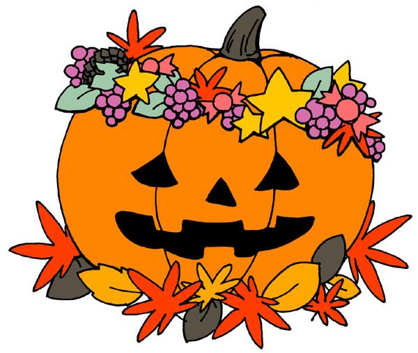 【無料】ハロウィンイラストフリー素材「かぼちゃに花冠」