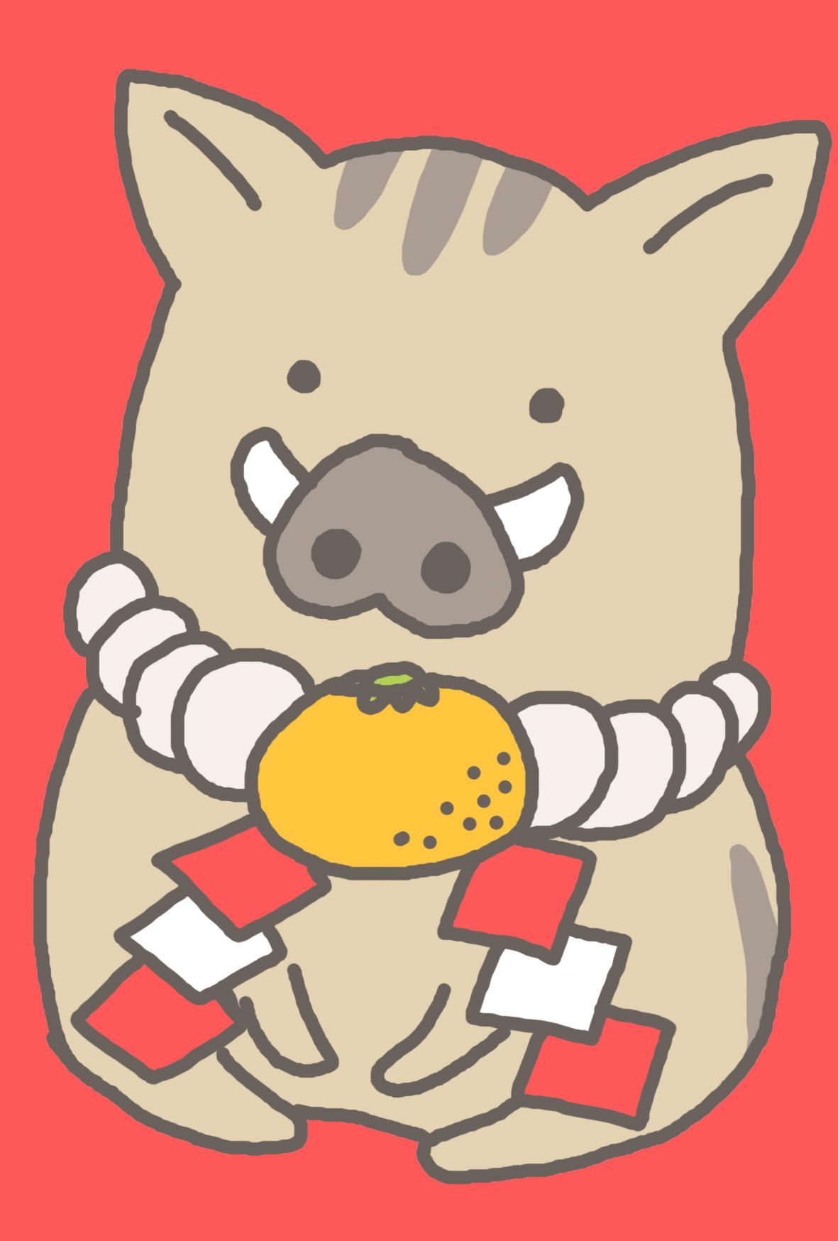 亥年可愛い猪イラスト年賀状しめ縄といのしし赤背景