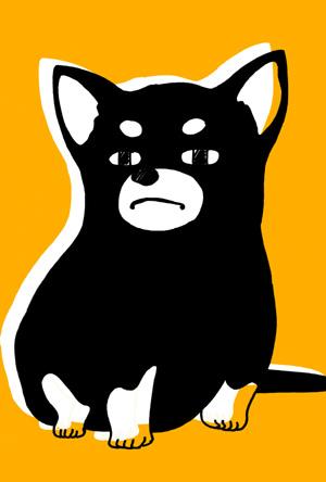 【シンプル】無料戌年年賀状イラストフリー素材【2色刷り】黄色×黒