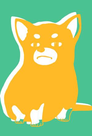 【シンプル】無料戌年年賀状イラストフリー素材【2色刷り】グリーン×イエロー