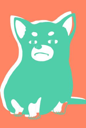 【シンプル】無料戌年年賀状イラストフリー素材【2色刷り】ピング×グリーン