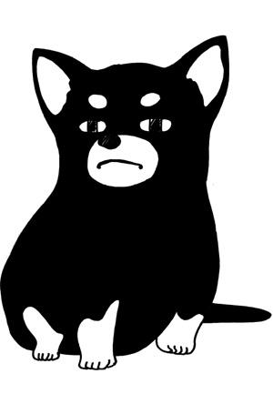【シンプル】無料戌年年賀状イラストフリー素材【白黒ラン職モノトーン】
