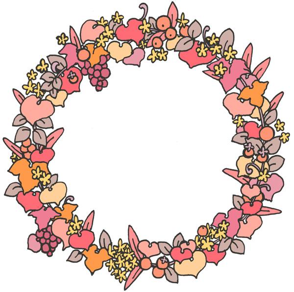 【無料】かわいい植物モチーフフレーム枠イラストフリー素材【ピンク系】