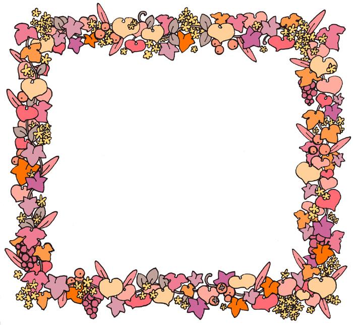 無料かわいい植物モチーフフレーム枠イラストフリー素材ピンク系