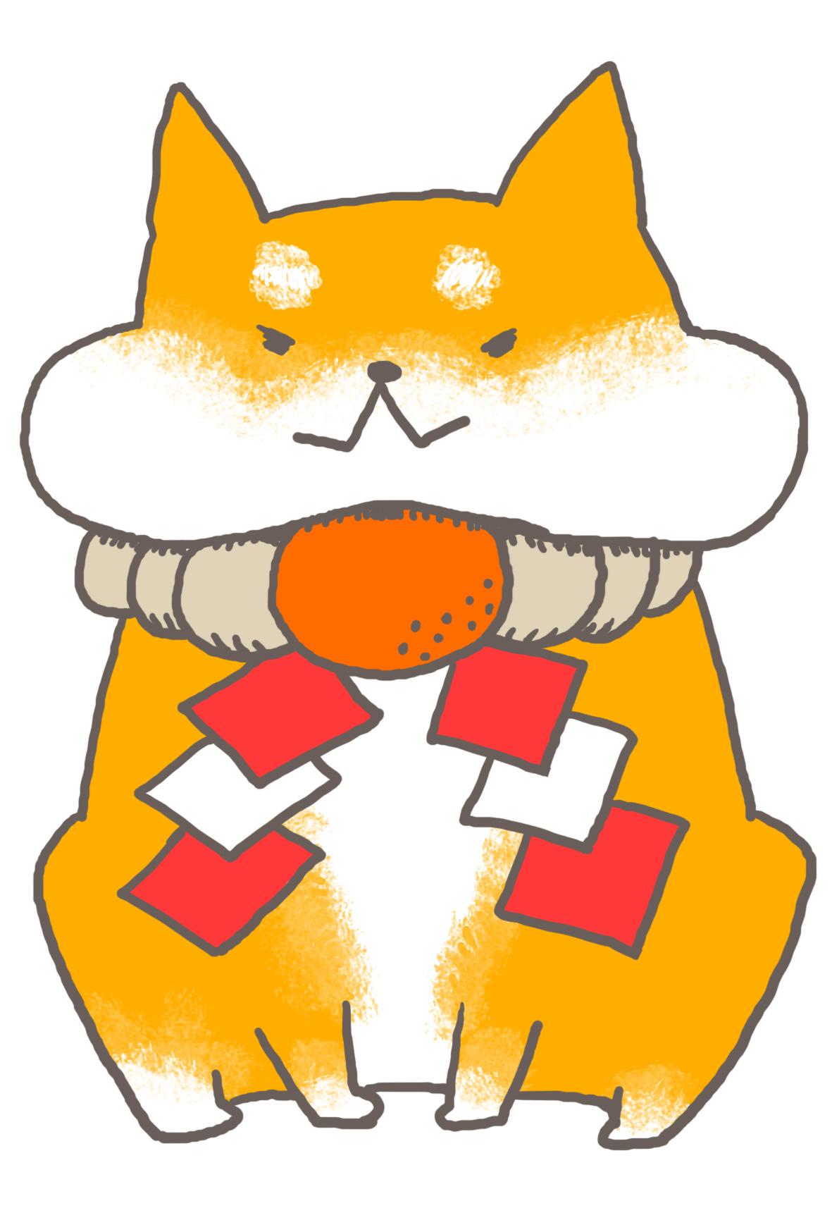 戌年】可愛い柴犬のしめ縄首輪年賀状【白背景】