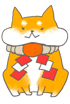 【戌年】可愛い柴犬のしめ縄首輪年賀状【白背景】
