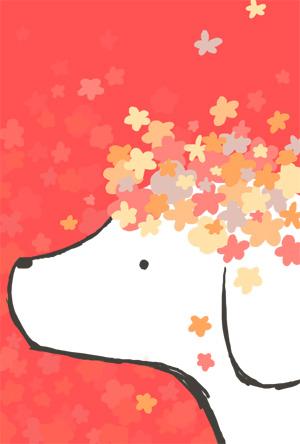 【戌年年賀状】可愛いお花と白い犬