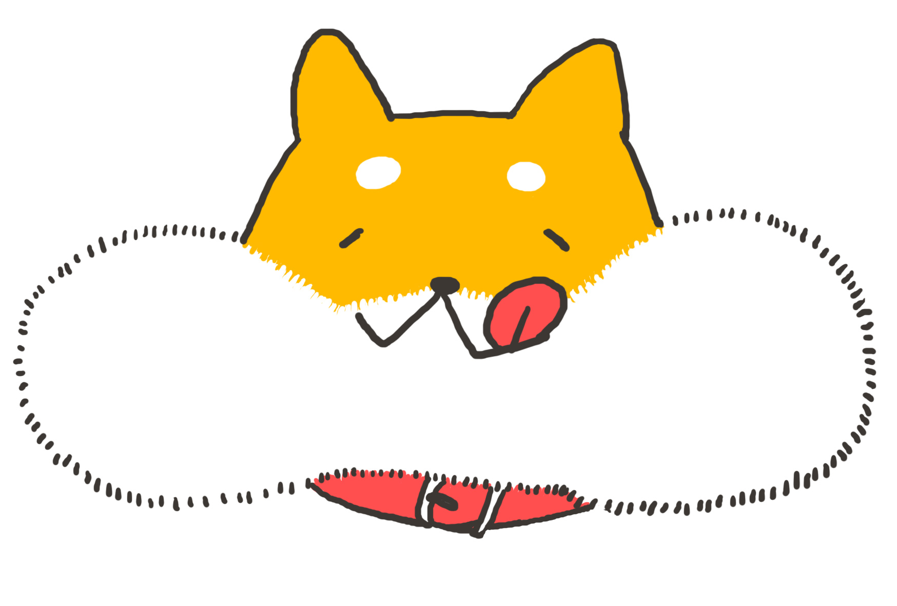 無料戌年年賀状イラスト】かわいい頬張り柴犬