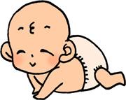 ハイハイするかわいい赤ちゃんのイラストフリー素材