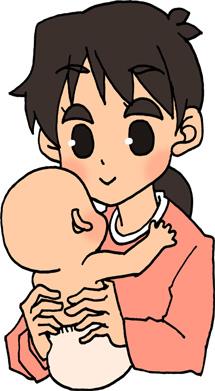 赤ちゃんを抱っこするお母さん(女性)のイラストフリー素材 家族 親子 母子
