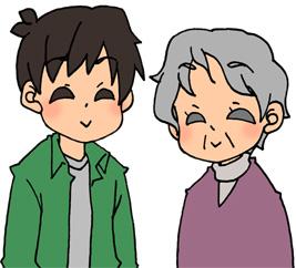 おばあちゃんと息子のイラストフリー素材 男性 親子 婿 姑