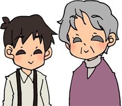 おばあちゃんと孫息子のイラストフリー素材 男の子