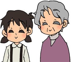 おばあちゃんと孫娘のイラストフリー素材 女の子
