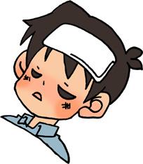 病気で具合が悪い男の子のイラストフリー素材 風邪 インフルエンザ