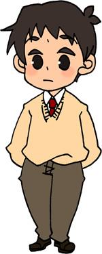 男子高校生のイラストフリー素材 男子学生 ブレザー クリーム色のセーター