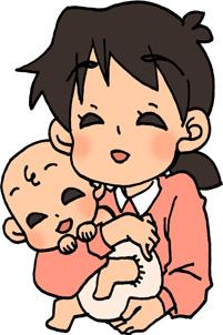 赤ちゃんを抱っこするお母さん(ママ)のイラスト