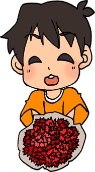 母の日にカーネーションの花束をあげる男の子のイラストフリー素材 息子 親子
