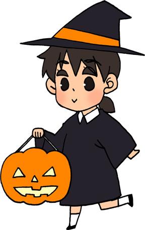 ハロウィンかぼちゃランタンと女の子のイラストフリー素材 魔女のコスプレ