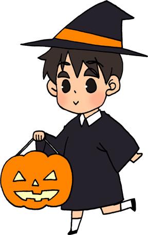 ハロウィンかぼちゃのランタンと男の子のイラストフリー素材 魔法使いのコスプレ