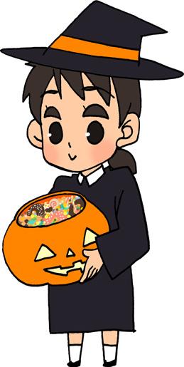 ハロウィン かぼちゃの入れ物にお菓子 女の子のイラストフリー素材トリックオアトリート