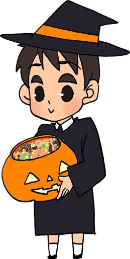 ハロウィン かぼちゃの入れ物にお菓子 男の子のイラストフリー素材トリックオアトリート