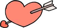 矢の刺さったハートのイラストフリー素材 バレンタインデー 恋愛【ピンク】