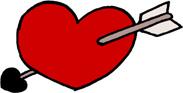 矢の刺さったハートのイラストフリー素材 バレンタインデー 恋愛【赤】
