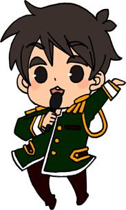 男性アイドルのイラストフリー素材 王子様衣装 緑担当