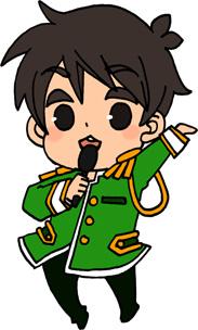 男性アイドルのイラストフリー素材 王子様衣装 黄緑担当