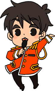 男性アイドルのイラストフリー素材 王子様衣装 橙担当