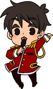 男性アイドルのイラストフリー素材 王子様衣装 赤担当