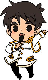 男性アイドルのイラストフリー素材 王子様衣装 白担当