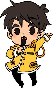 男性アイドルのイラストフリー素材 王子様衣装 黄担当