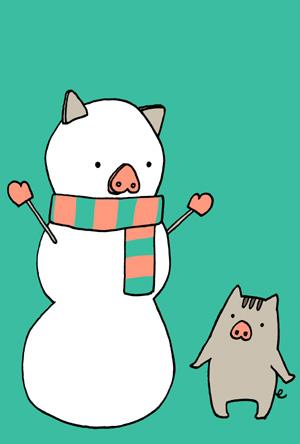 かわいい猪と雪だるまの亥年年賀状イラストフリー素材