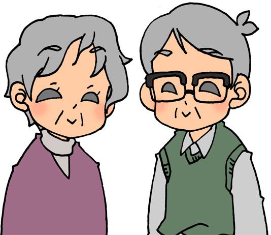 おじいちゃんとおばあちゃん夫婦のイラストフリー素材