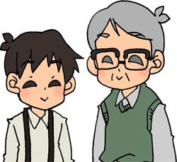 おじいちゃんと孫の男の子のイラストフリー素材