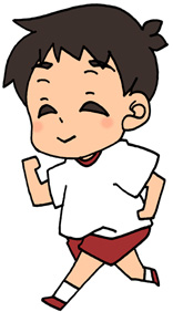 ジョギングをする男性のイラストフリー素材【走る・ランニング・運動】服装赤