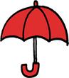 傘のミニイラストフリー素材赤