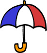 傘のミニイラストフリー素材トリコロールカラー