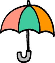 傘のミニイラストフリー素材パステルカラー