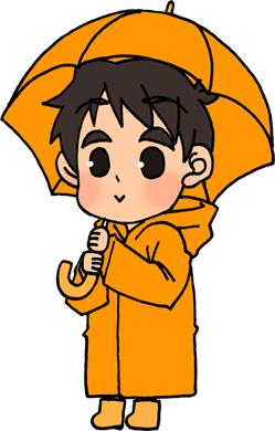 傘とレインコートと男の子のイラストフリー素材 雨の日 梅雨 6月