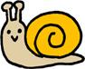かわいいカラフルかたつむりミニイラストフリー素材 黄色 width=
