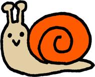 かわいいカラフルかたつむりミニイラストフリー素材 オレンジ色