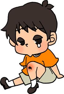 怪我をした男の子のイラストフリー素材