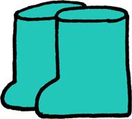 長靴のイラストフリー素材 エメラルドグリーン