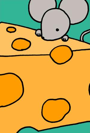 ねずみイラスト年賀状 シンプルでかわいいネズミとチーズ グリーン アップ